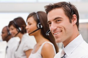 Closeup of happy nearshore call center agent